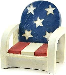 Miniature Dollhouse FAIRY GARDEN - Patriotic Chair - Accessories