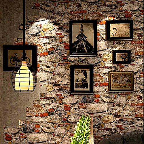 Poowef Wallpaper Retro Nostalgia 3D Estereoscópico Cultura Antiguas Piedras, Piedras, Rocas, Papel Tapiz, Restaurante, Cafetería, Personalidad, Fondo De Pantalla, 0.53 * 10M,Un Cafetería