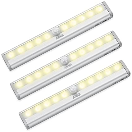 AMIR Motion Sensing Closet Lights, 3 Pack DIY Stick On Anywhere Portable 10