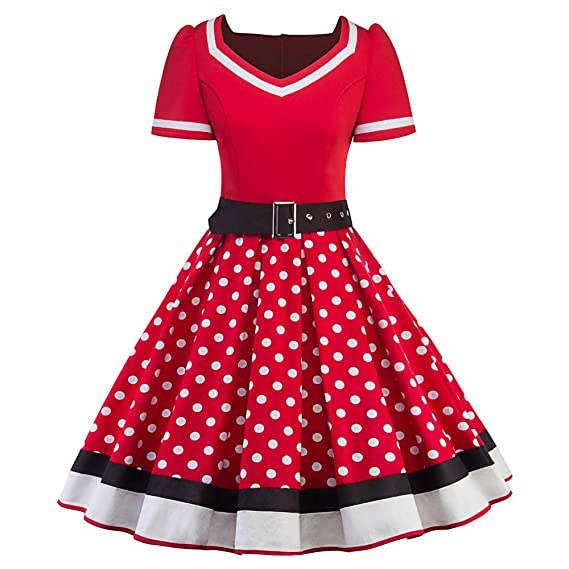 Chaofanjiancai Fashion Women V-Neck Short Sleeve Dot Print Sashes Holiday Vintage A-Line Pendulum Dress at Amazon Womens Clothing store: