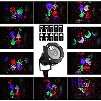 Halloween Projector LED Lights for Decoration,Waterproof Landscape Projector LED Lights with Switchable 10 Patterns for Party&Christmas,Auto Rotating Projection LED Snowflake Spotlight