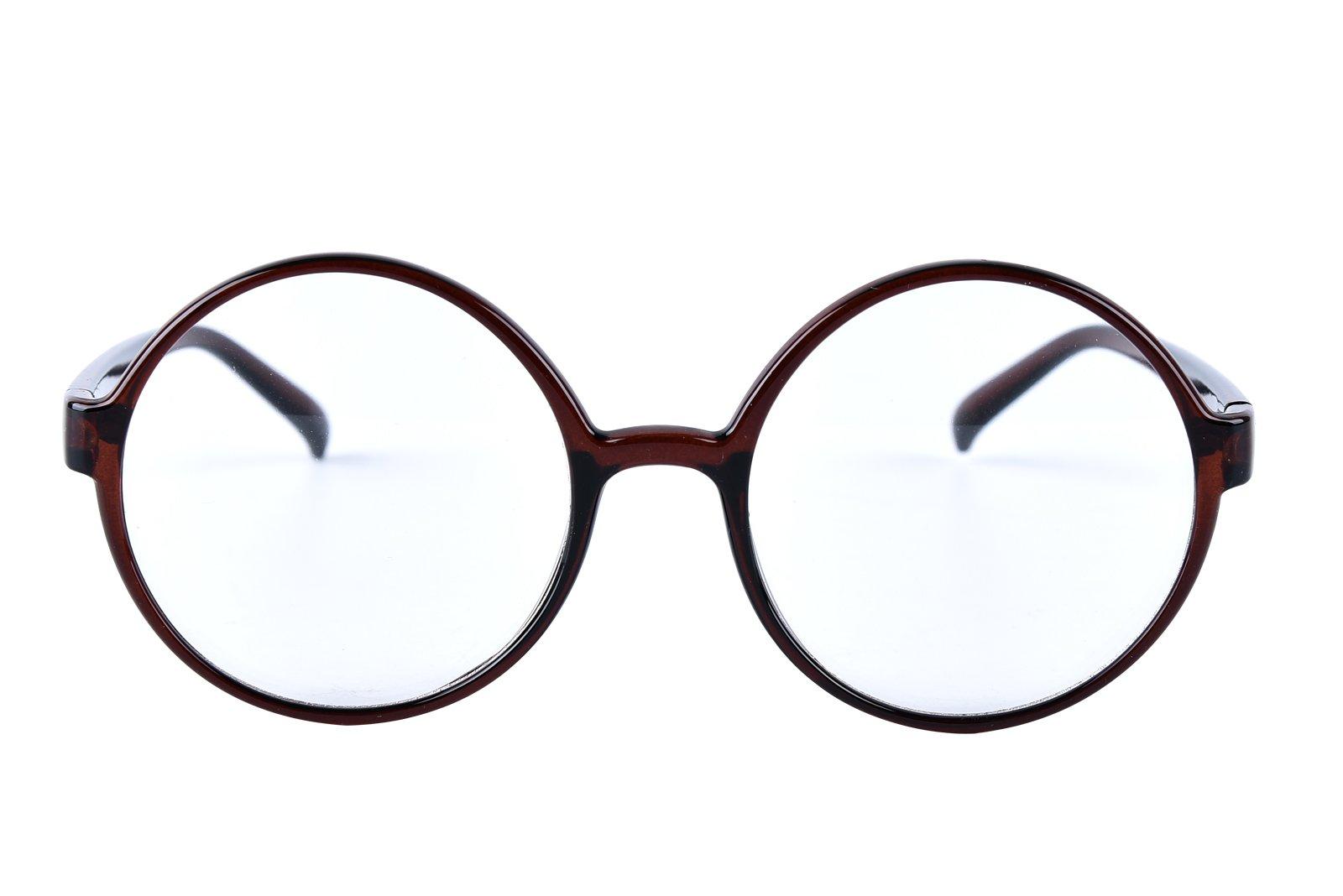 Agstum Retro Round Glasses Frame Clear Lens Fashion Circle Eyeglasses 52mm (Brown, 52mm) by Agstum