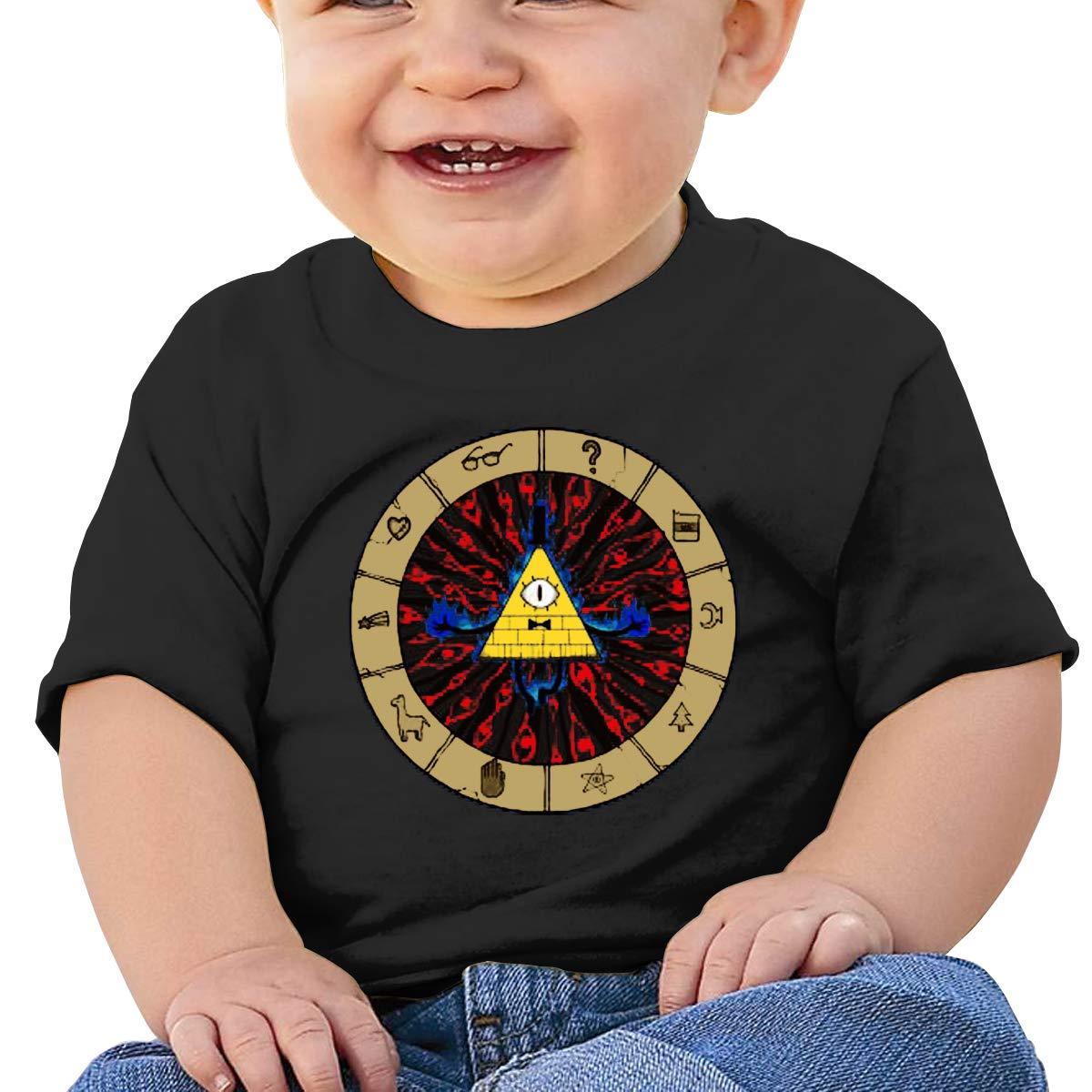 MONIKAL Unisex Infant Short Sleeve T-Shirt Bill Cipher Gravity Fall Toddler Kids Organic Cotton Graphic Tee Tops