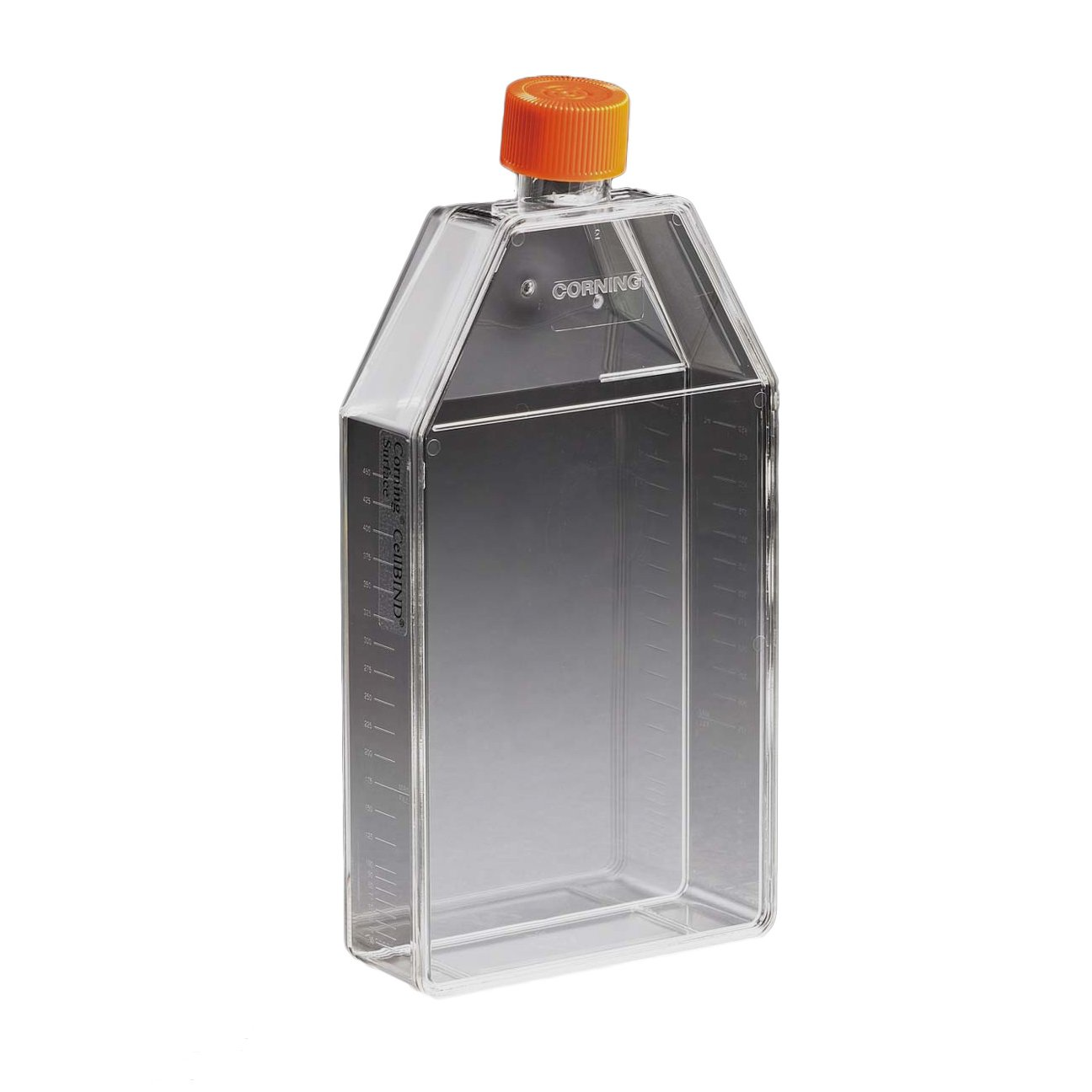 Corning 431079 Polystyrene 250mL Rectangular Angled Neck Cell Culture Flask with Orange HDPE Plug Seal Cap (Case of 50)