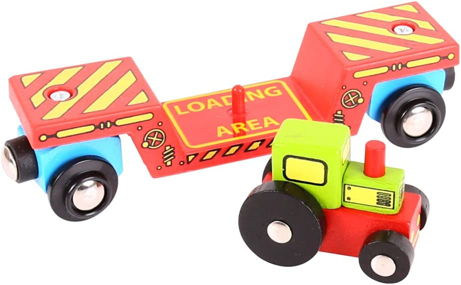 Bigjigs Rail Tractor Low Loader Other Major Wooden Rail Brands are Compatible