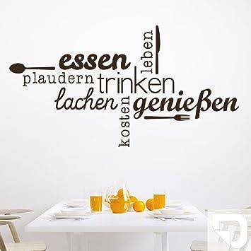 DESIGNSCAPE® Wandtattoo Essen Trinken Genießen | Wandtattoo Küche Esszimmer  140 x 75 cm (Breite x Höhe) weiss DW803463-L-F5
