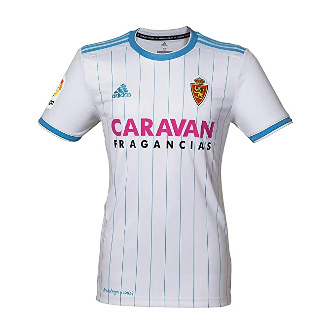 adidas Real Zaragoza Primera Equipación 2018-2019, Camiseta, White-Light Blue