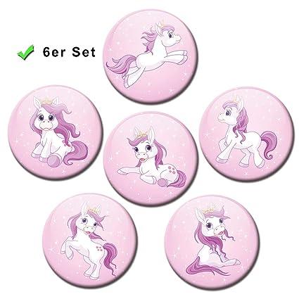 Pony princesa - imanes de Pony - Ø 5 cm - juego de 6 imanes ...
