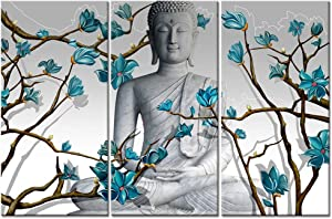 Visual Art Decor 3 Pieces Buddha Wall Art Buddha Statue with Abstract Blue Flowers Painting Canvas Prints for Living Room Bedroom Office Large Picture Decoration (01 Buddha)