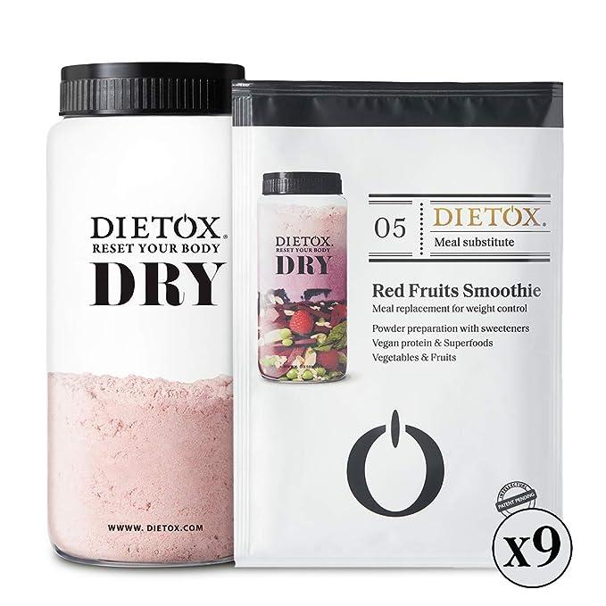Dietox Dry Cacao - Dieta de batidos veganos. Sustitutivo de 9 comidas para adelgazar y perder peso. Shaker Incl.: Amazon.es: Salud y cuidado personal