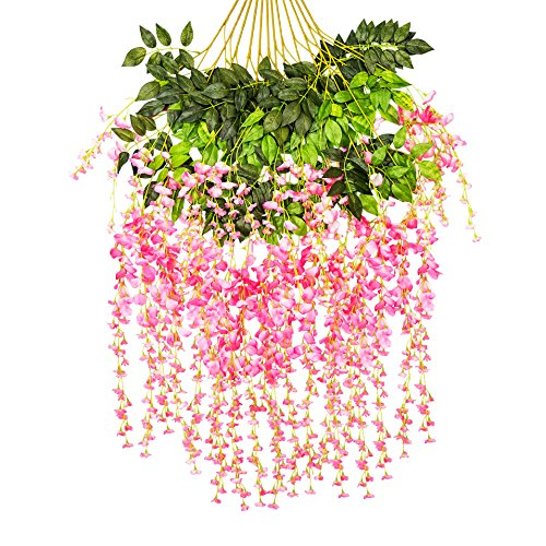 Ivyue 12sPack Wisteria Vine Artificial Silk Wisteria Lane Rattan Fake Wisteria Artificial Flowers Garland Hanging Flowers Wisteria Bush for Home Garden Party Wall Wedding Decoration 3.6feet (Pink) ()