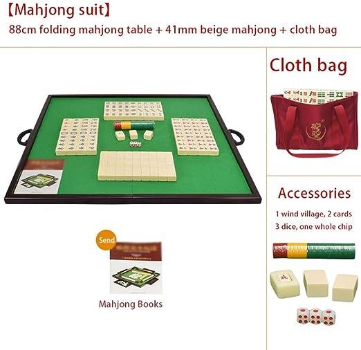 Mah Jong Tarjeta Mahjong con Mesa Plegable Conjunto de Caja Mahjong portátil para el hogar Conjunto de Juegos de Viaje Regalos para Amigos Juegos Tradicionales (Color : Beige, Size : 41mm): Amazon.es:
