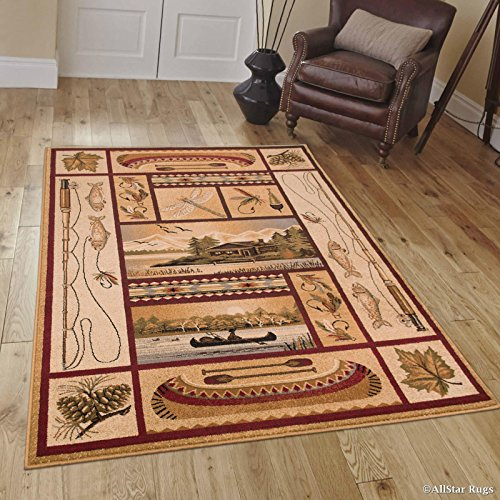 Allstar 4 X 5 Beige with Burgundy Rustic Lodge Assorted Collection Area Rug (3′ 9″ X 5′ 1″) For Sale
