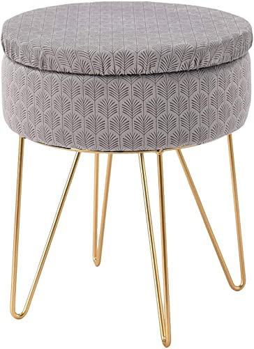 Wimarsbon Foot Stool Storage Ottoman, Compact Soft Padded Seat for Living Room, Bedroom and Kids Room, Golden Metal Legs Vanity Seat -Gray