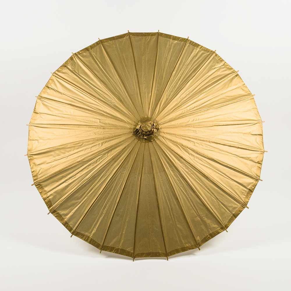 Quasimoon PaperLanternStore.com Bulk CASE 32 Inch Gold Paper Parasol Umbrellas (10 Pack)