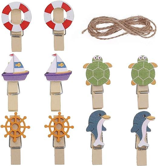 10pcs Cartoon Wooden Clip with Hemp Rope DIY Photo Paper Peg Clothespin Cute