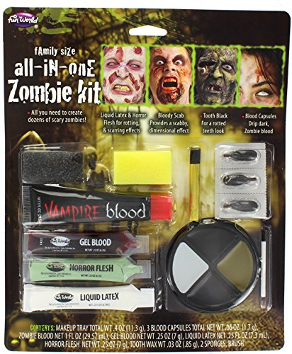 [Family Size All In One Zombie Kit Costume Makeup] (Zombie Halloween Costume Makeup)