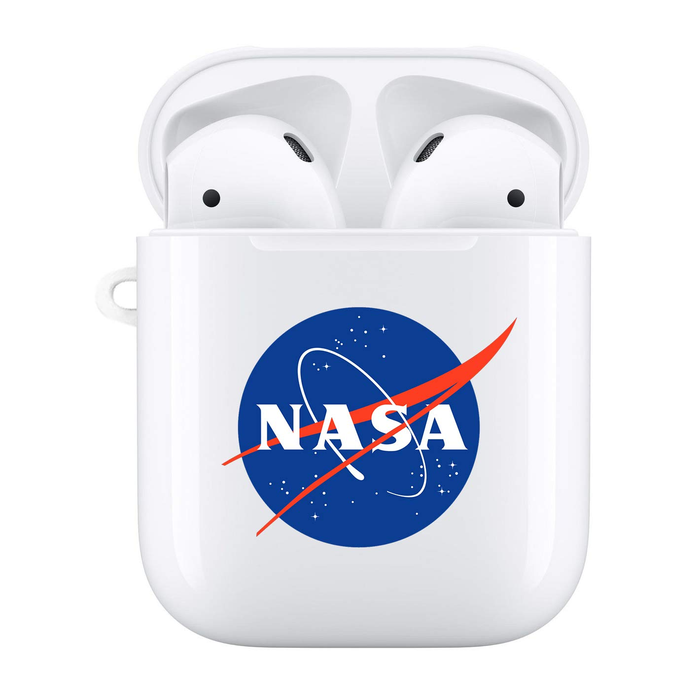 Haiyin NASA Transparent Case Compatible with AirPods Case 2 /& 1 Premium Hard Plastic Protective Cover with Design Logo NASA