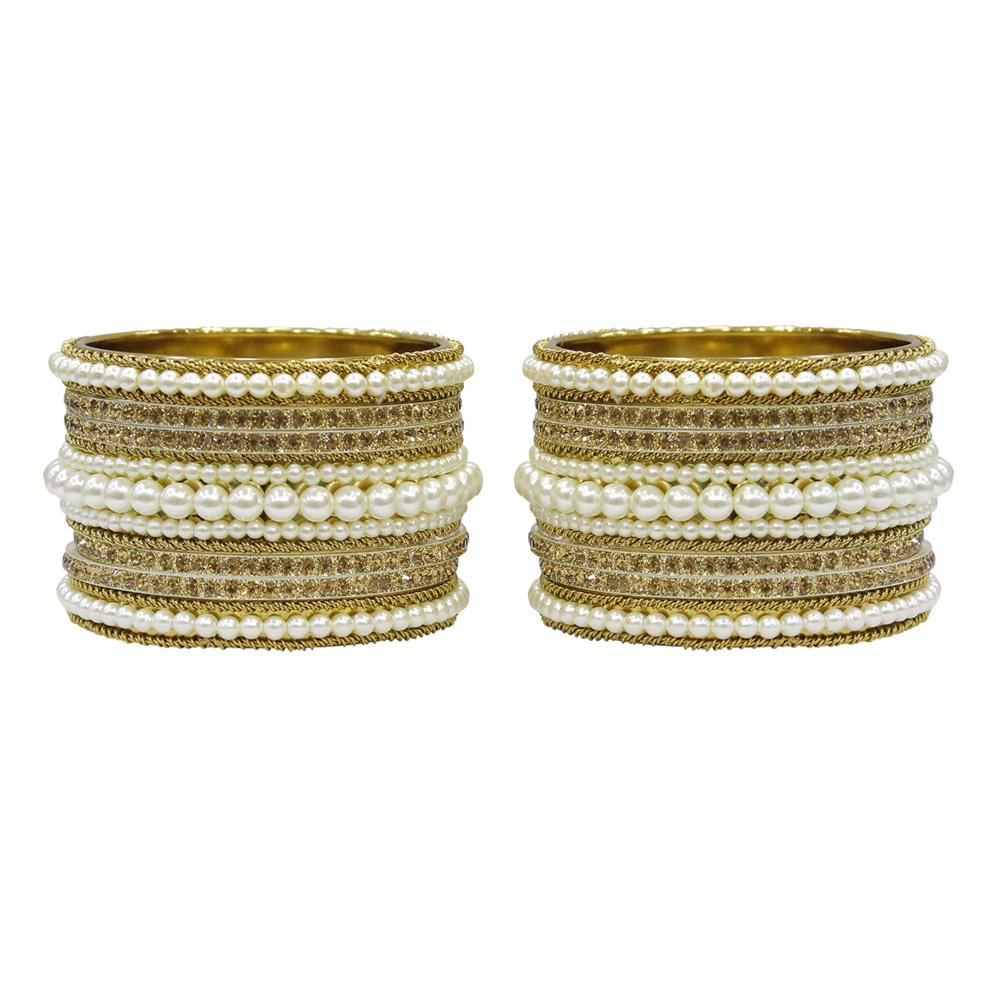 MuchMore Unique Traditional Indian Bollywood Style Antique Gold Plated Polki Bangle Jewelry MB-94