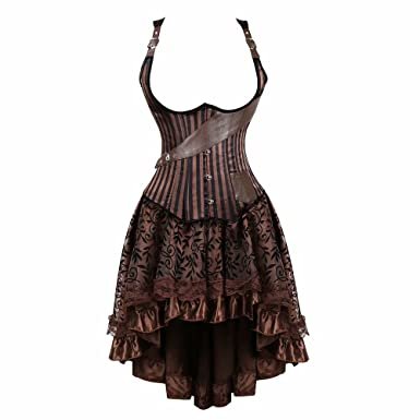 91538528382 AIZEN Underbust Steampunk Corset Dress Leather Basques and Bustier Skirt  Asymmetry lace Pirate Costume Gothic  Amazon.co.uk  Clothing