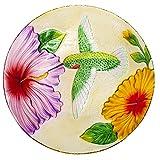 Evergreen Flag & Garden 2GB619 Fluttering Hummingbird Glass Birdbath Bowl, 18
