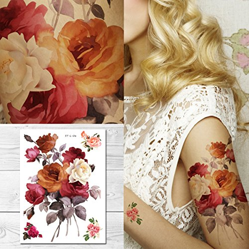 Supperb Temporary Tattoos - Watercolor Roses Bouquet