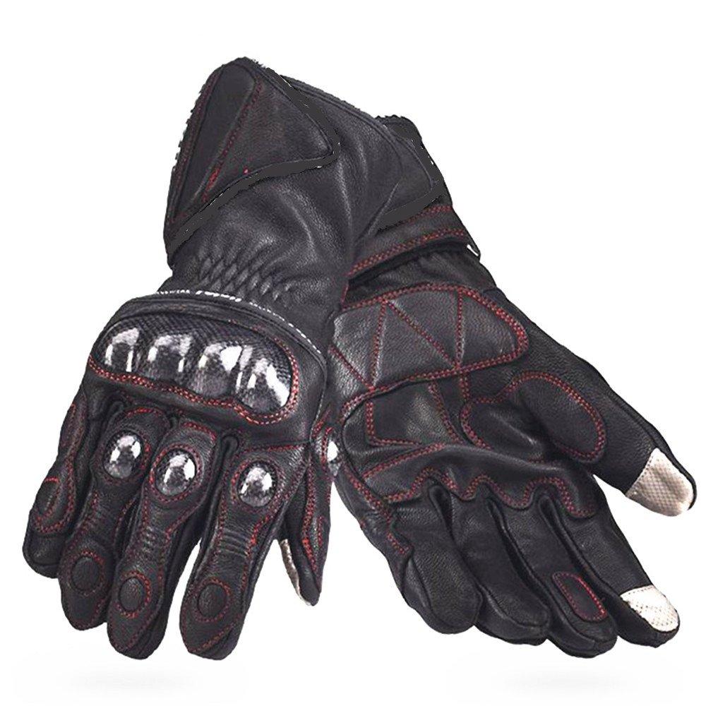 QARYYQ Kohlefaser-Touchscreen-Handschuhe Antikollisions-Motorrad-Elektroauto-Handschuhe, Schwarz Handschuh (größe   XL)