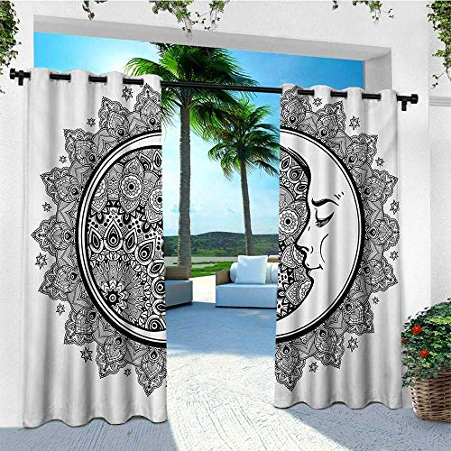 (leinuoyi Zodiac, Outdoor Curtain Set of 2 Panels, Interlace Round Ethnic Mandala and Crescent Moon with Ethnic Folkloric Graphic, Balcony Curtains W120 x L96 Inch Black)