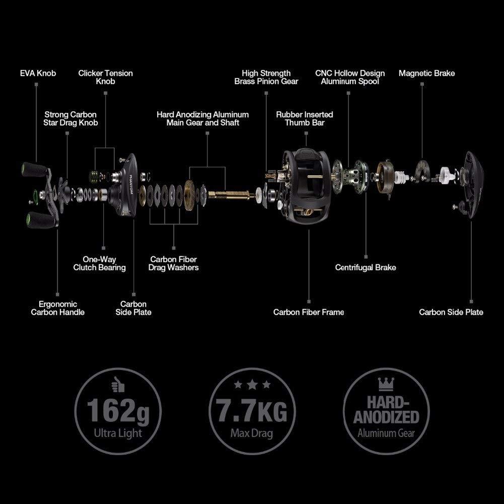 1 Engrenage Casting Reel JYSL Moulinet De P/êche en Fiber De Carbone Ultra L/éger 162g Double Frein 7.7kg Drag Max 7.0
