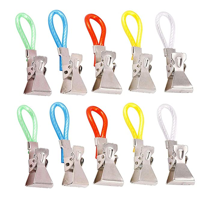 Multi Coloured Metal Pack Of 5 Towel Hanger Clips Tea Towels Clothes Holder RY9