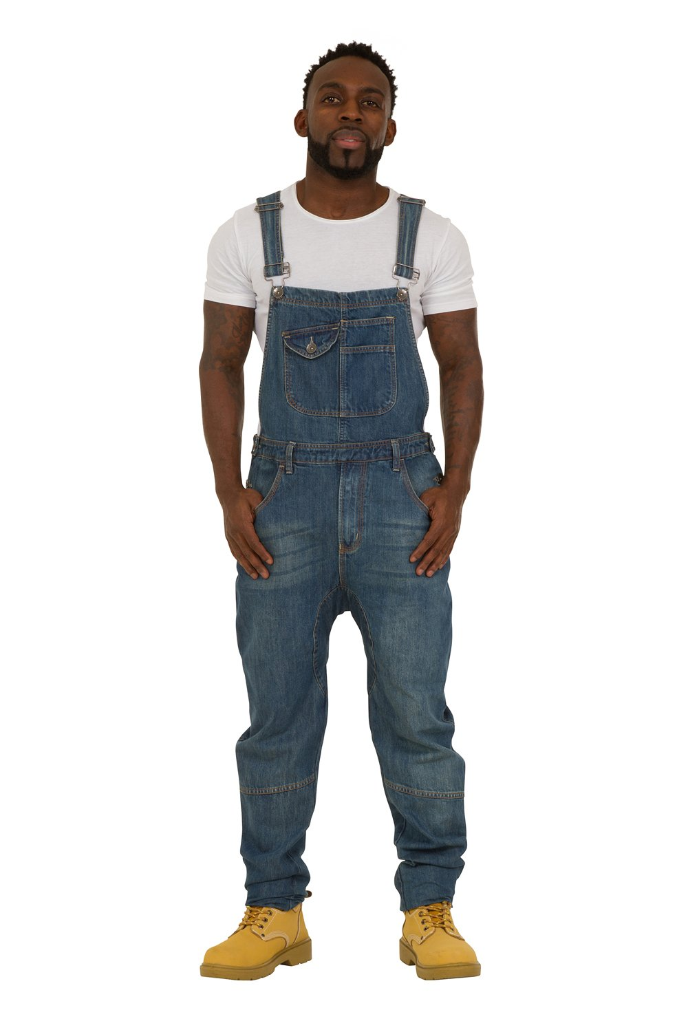 USKEES DANNY Mens Bib Overalls - Relaxed Fit - Palewash Denim adjustable Loose