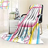 YOYI-HOME Luxury Collection Ultra Soft Plush Fleece Pink Striped Frame with Flower Shapes Trippy Form in Soft Pastel Tones Artwork Yellow Blue All-Season Throw/Bed Blanket /W47 x H79