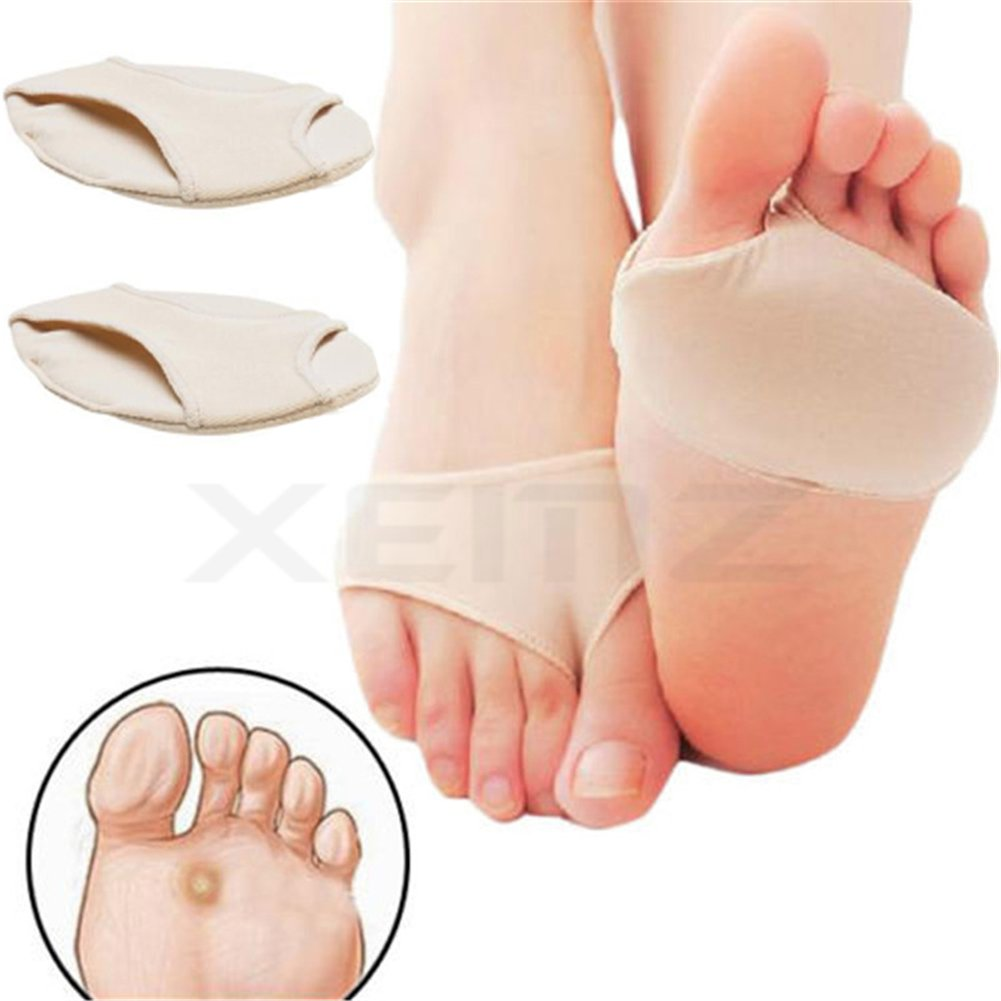 Anti Grinding Forefoot Cushion, Anti-pain Socks Insoles, Silicone Protection Toe Undies Pad, Nylon Lycra Dance Paw Half Sole Protector, for Foot Pain Ballet Dance Lyrical Shoes Fitness (L)