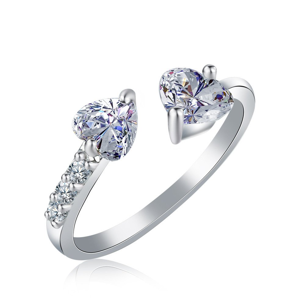 Diamondwize Open Double Heart White Gold Color - Adjustable Crystal Ring