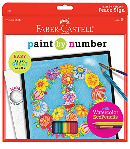 Faber-Castell Paint By Number Peace Kit - Watercolor Paint by Number for ()