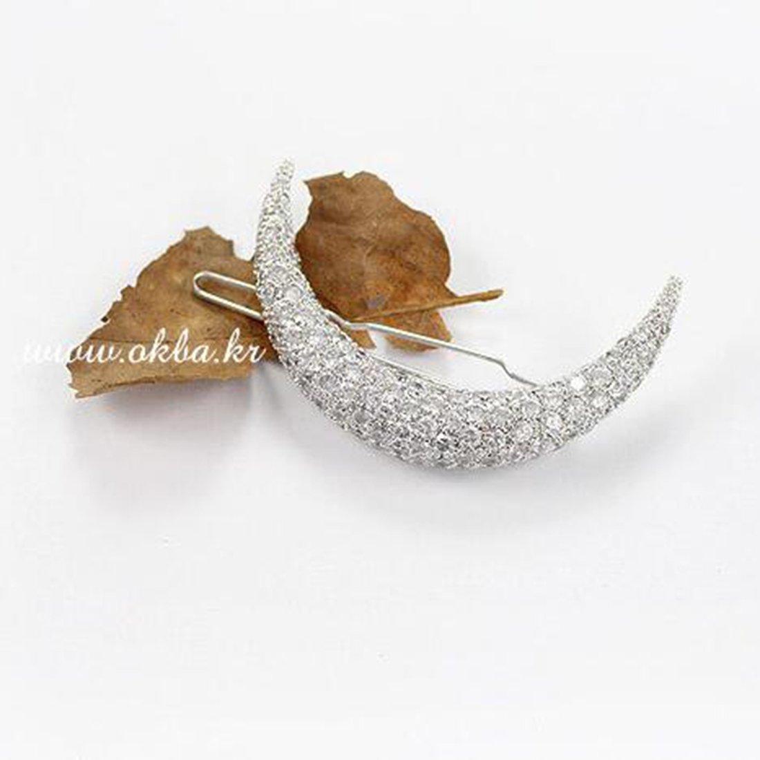 elegante Horquilla de pelo en Compatible Conma de media luna con diamantes de imitaci/ón