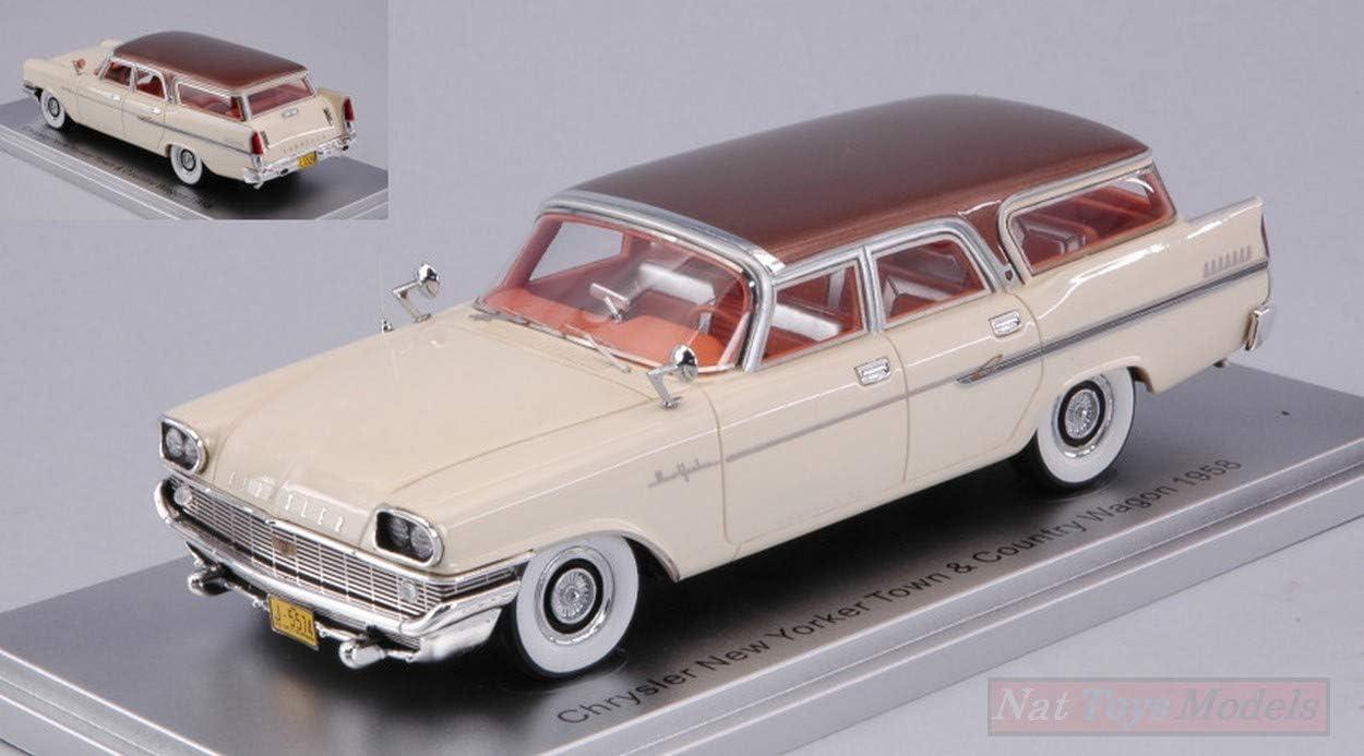 New Kess Model KS43032040 Chrysler York Town Country Wagon 1958 White//Brown 1:43