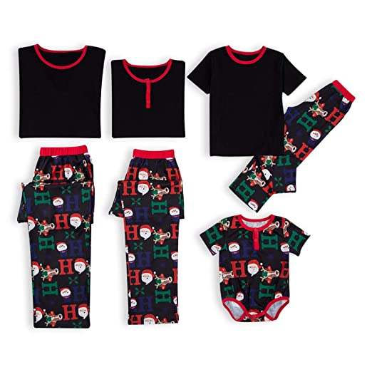 PatPat Short Sleeve Family Matching Christmas Pajamas Set Santa HOHOHO  Printing Black Sleepwear for Women Men Baby Kids at Amazon Men s Clothing  store  4119e110e