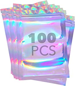 4x9 Ziplock Bag 100 Pieces Resealable Smell Proof Bags Foil Pouch Bag Flat Ziplock Bag for Packaging & Self Sealing Cookies, Candies, Desserts Food Storage Party Favors