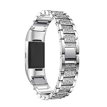 Aottom Fitbit Charge 3 Correa Acero Inoxidable, Correas Fitbit Charge 3 Mujeres Rhinestone Diamante Banda de Metal Wirst Joyería Correas Pulsera para ...