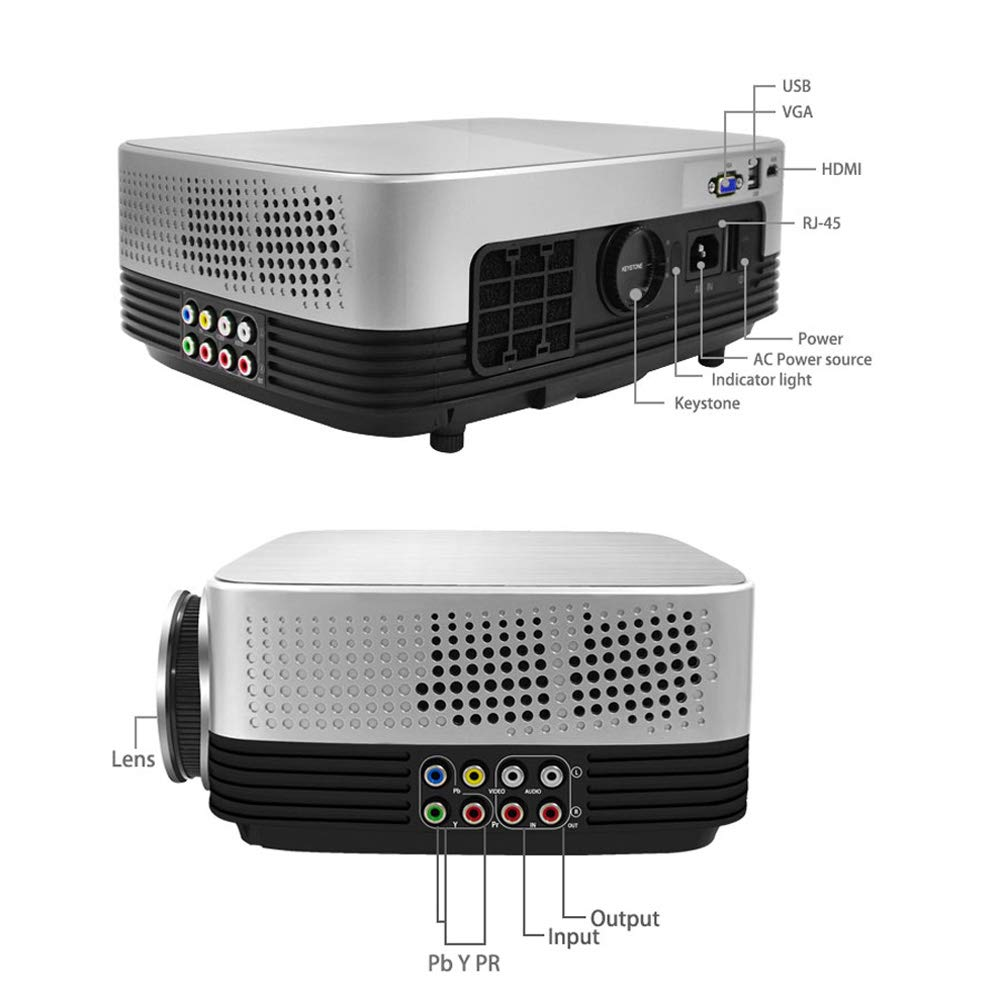 JIANG BREEZE HD Office Projector-Portable Home Theater 120 ...