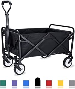 "WHITSUNDAY Collapsible Folding Garden Outdoor Park Utility Wagon Picnic Camping Cart with Replaceable Cover (Compact Size 5"" Wheels, Black)"