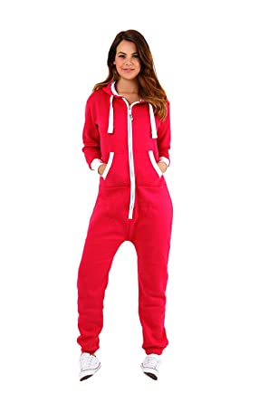 0a8dd9266820 MALAIKA ® Womens Plain Zipper Onesie Ladies Onepiece All in One Hooded Zip  Up Overall Plus Sizes Jumpsuit Playsuit Small-5XL (UK 8 - UK 22):  Amazon.co.uk: ...