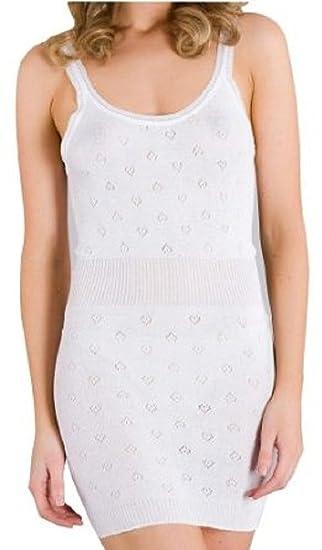 Mujer Francés Cuello Térmico Camiseta Más Largo By White Snowdrop - sintético, blanco, 100