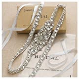 Yanstar Thin Full Length Wedding Bridal Belt Sash Silver Rhinestone Crystal Pearl Belt White Ribbon for Bridesmaid Prom Dresses Belt