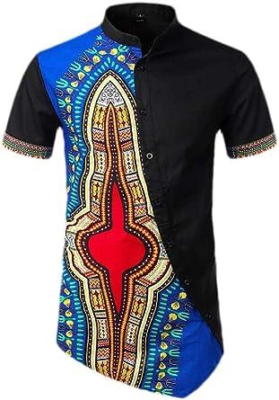 Camisa de Manga Corta con Botones para Hombre, diseño Tribal de Dashiki: Amazon.es: Ropa y accesorios
