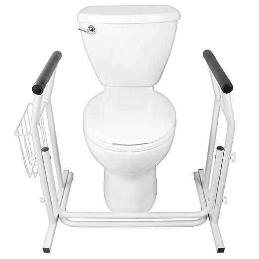 amazoncom stand alone toilet rail by vive medical bathroom safety assist frame w grab bars u0026 railings for elderly senior handicap u0026 disabled padded