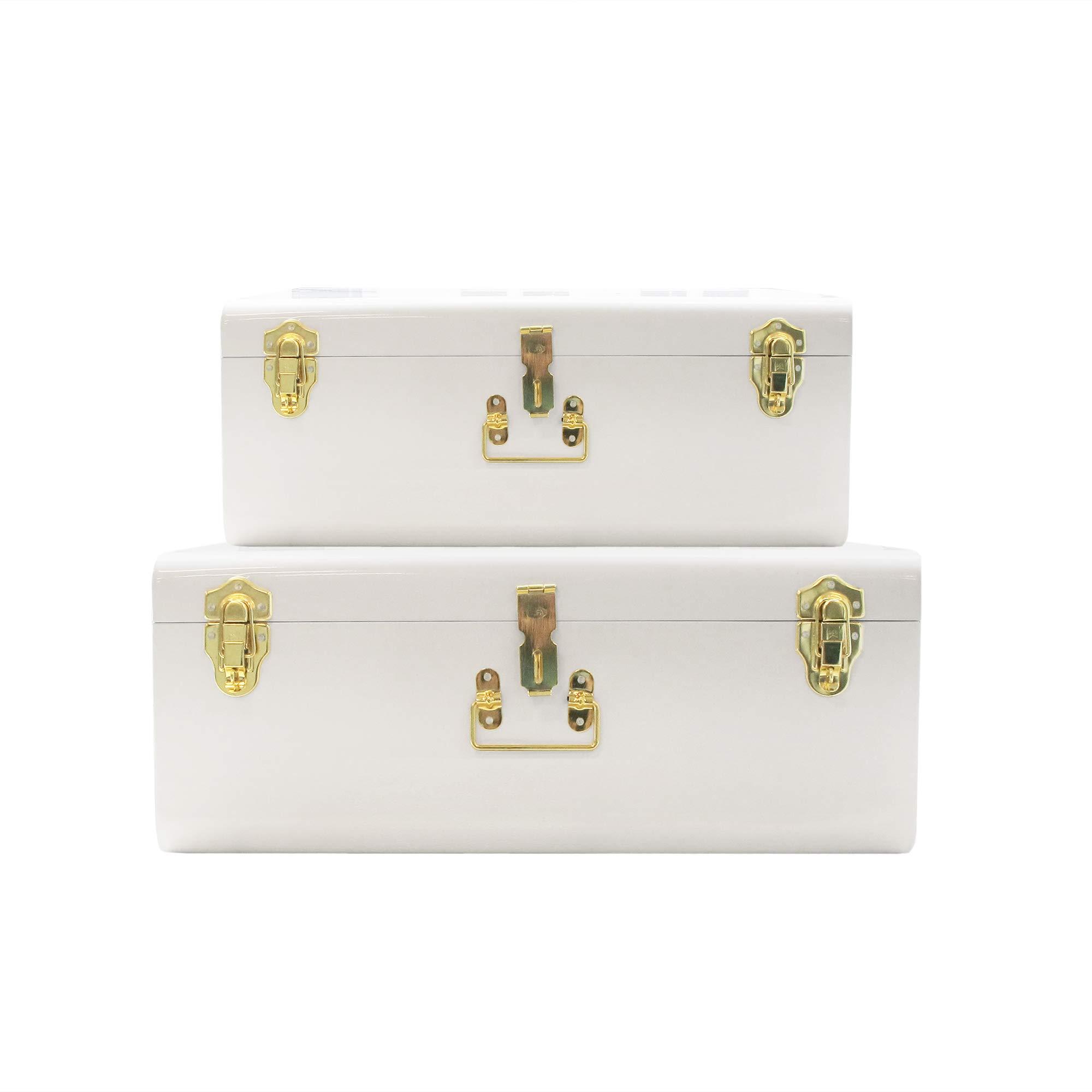 Zanzer White Trunks Set of 2 - Vintage Style Storage w/Gold Finish Handles & Locks - Space Saving Organizer Home Dorm & Office Use by Zanzer