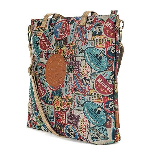 ililily X Disney Mickey Mouse Patch Cross Body Vintage Crossbody Shoulder Bag, Brown