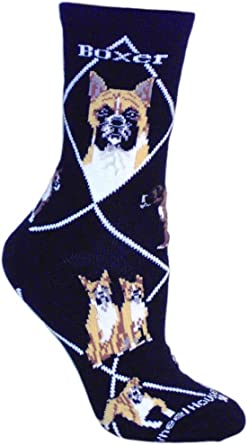 Black I love Boxer Dogs With a Paw Print Design Socks